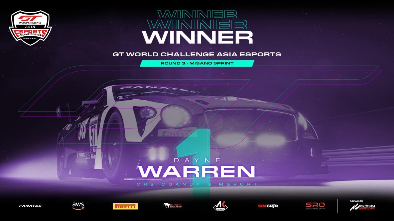 SRO E-sports - Warren wins again after Tan and Boquida come to blows at Misano
