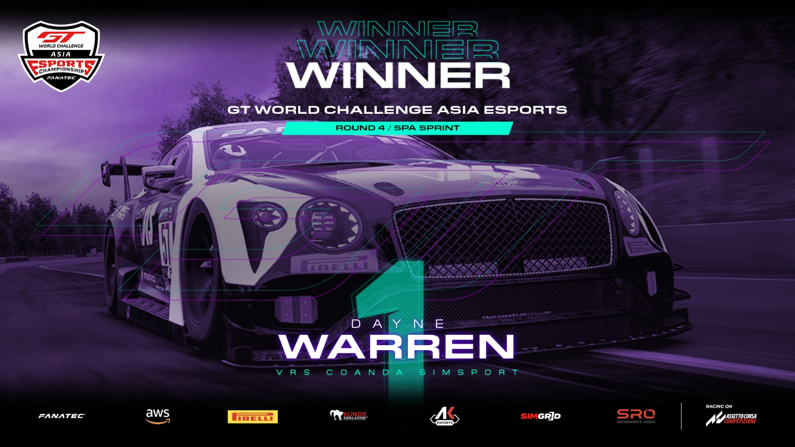 SRO E-sports - Flawless Warren wins again to clinch GT World Challenge Asia Esports Sprint Series crown at Spa